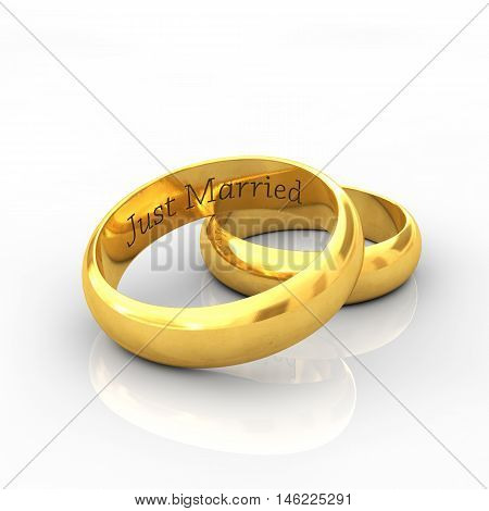 Engraved golden wedding rings on white background with reflection , Just married , 3d illustration