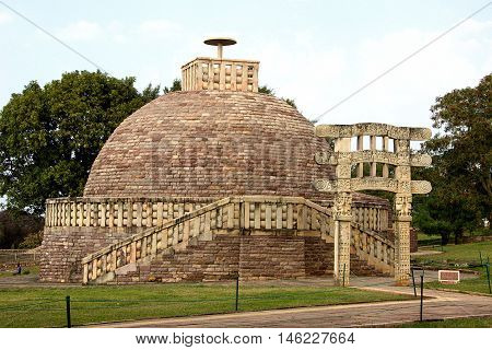 Stupa 3 crowned by single umbrella at Sanchi near Bhopal Madhya Pradesh India Asia