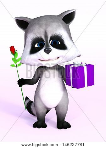 A cartoon raccoon looking really cute and holding a birthday gift in one hand and a rose in the other 3D rendering. Pink background.