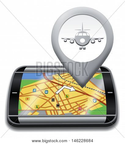Airport Gps Shows Landing Strip 3D Illustration