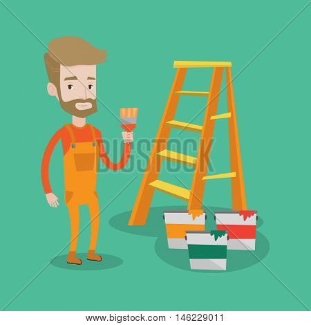 Hipster painter with the beard holding a paintbrush. Man with paintbrush in hand standing near step-ladder and paint cans. Concept of house renovation. Vector flat design illustration. Square layout.