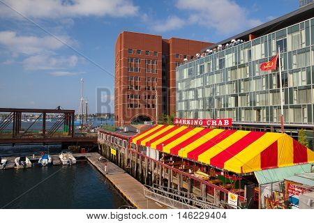 BOSTON,MASSACHUSETTS,USA - JULY 15,2016: The famous restaurant Barking Crab.Located in Boston and Newport the Barking Crab has become one of the citys best-loved meeting and eating spots.