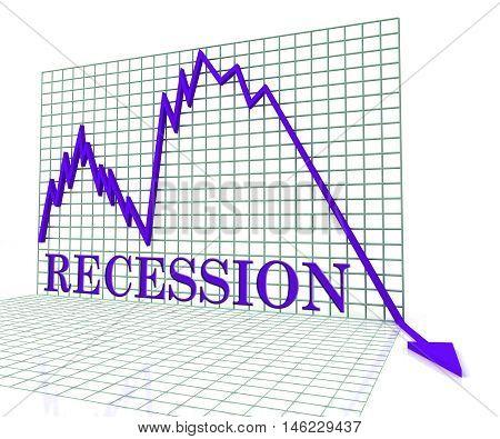 Recession Graph Negative Means Economic Depression 3D Rendering