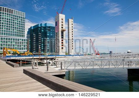 Boston,Massachussetts,USA - July 15,2016: New construction luxury condos on Fan Pier in Boston.