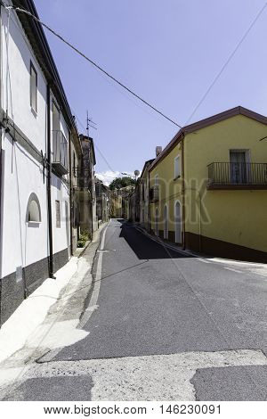 Historic street in the old village centre of Terrati Calabria Italy