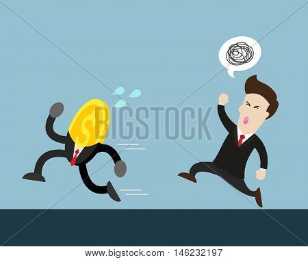 coin money run away from businessman who try to catch him. businessman is angry and want coin.