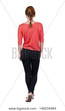 back view of walking  woman in jeans. beautiful blonde girl in motion.  backside view of person.  Rear view people collection. Isolated over white background.