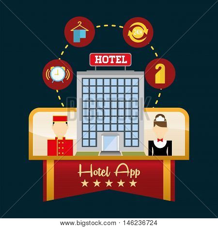 maid bellboy and hotel apps icon set. Service technology media and digital theme. Colorful design. Vector illustration