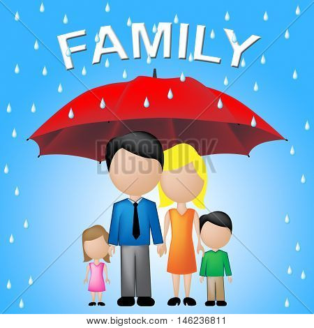 Family Word Umbrella Indicates Kin And Relations