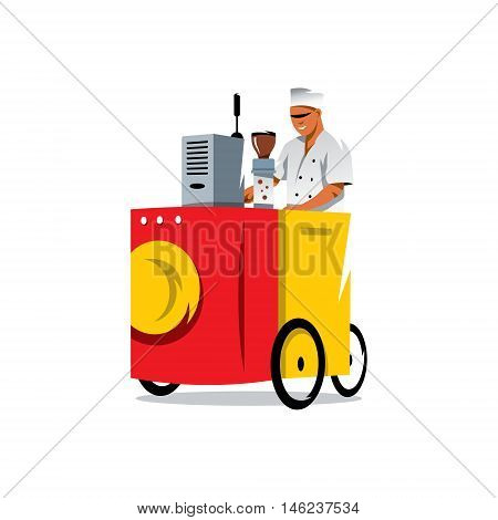 Man and bicycle based cafe. Isolated on a white background