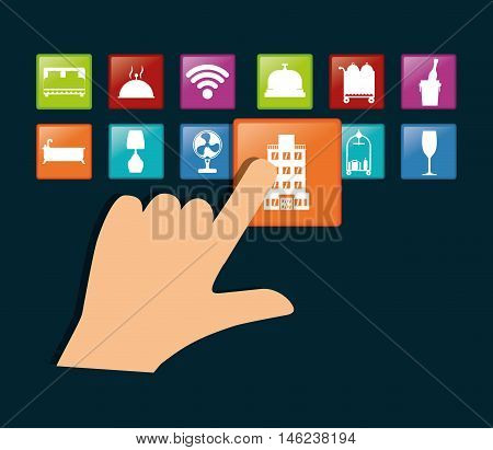 hand and hotel apps icon set. Service technology media and digital theme. Colorful design. Vector illustration
