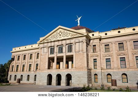 Originally the Arizona State Capitol building it is now a museum after being replaced by an executive tower building in Phoenix Arizona.
