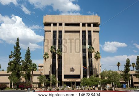 PHOENIX ARIZONA - JUNE 11 2016: Arizona State Capitol Executive Tower which houses the governor's office was sold in 2009 in a real estate transaction to raise money for the state budget. The state now leases the building.