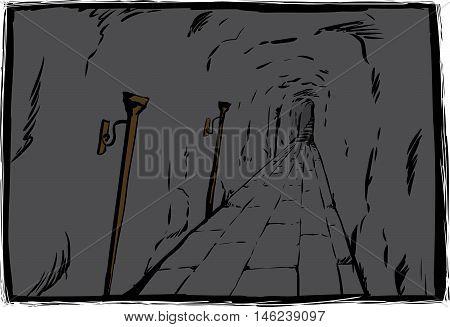 Unlit Torches In Unlit Dungeon