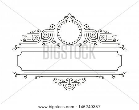 Vector floral frames in mono line style with copy space for text - logo design template. Retro Frame. Luxury Frame