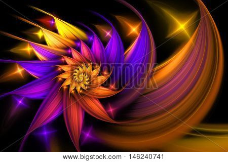 Exotic flower. Abstract shining multicolored spiral on black background. Computer-generated fractal in yellow orange rose and violet colors.