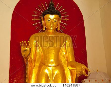 Buddha statue at Shwezigon Pagoda is one of the biggest religious places in Bagan