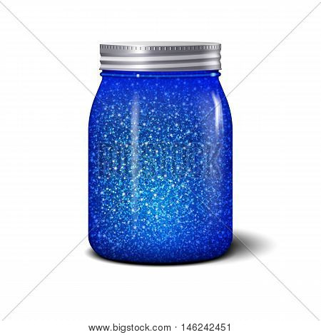 Glitter jar. Realistic object with blue sparkles