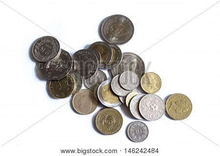 Thailand, Australia, Singapura, Norway coin on white background