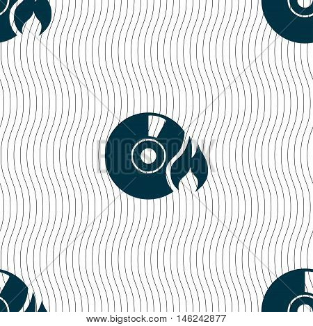 Cd Icon Sign. Seamless Pattern With Geometric Texture. Vector