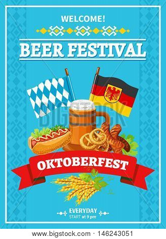 German annual oktoberfest beer festival invitation flat poster with flags beer and snacks abstract vector illustration