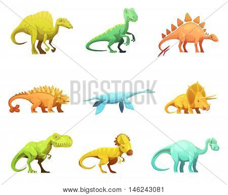 Funny retro style dinosaurus cartoon characters figures of largest prehistoric animals collection abstract isolated vector illustration