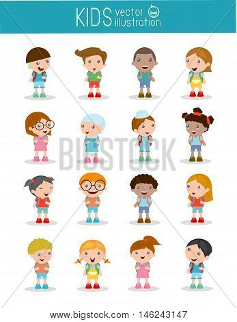 Set of diverse Kids and Different nationalities isolated on white background, Kids go to school, back to school, Cute cartoon children, happy children, Vector Illustration.
