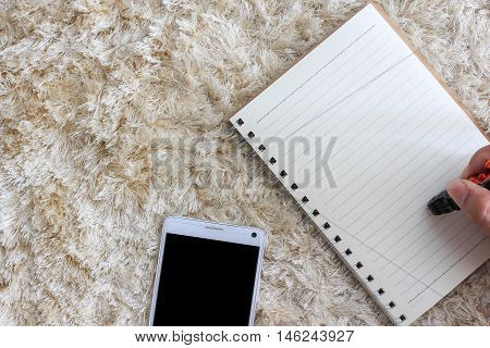 Blank notepad with pen and mobile phone on brown shaggy carpet