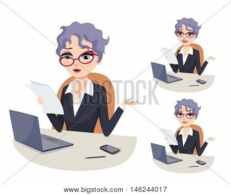 Confused CEO: confused senior female executive wearing glasses and holding documents at the office