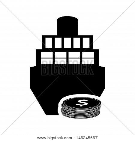 flat design cargo ship and coin icon vector illustration