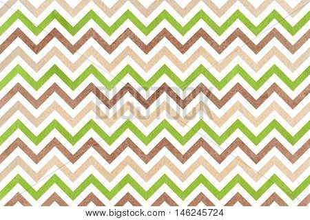 Watercolor Brown, Green And Beige Stripes Background, Chevron.