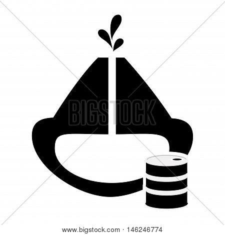 flat design oil reservoir and oil barrel icon vector illustration