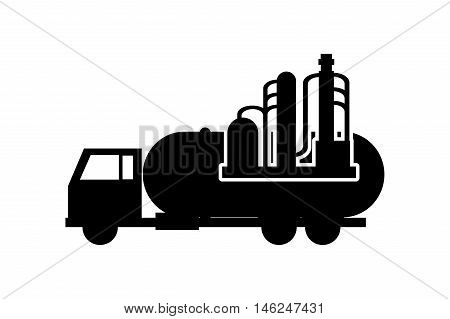 flat design cistern truck and oil refinery icon vector illustration