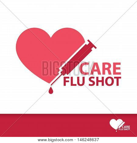 Care Flu Shot symbol icon. Vector illustration Logo flat template design