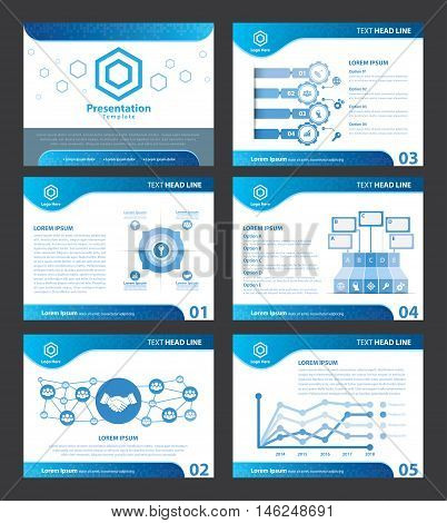Abstract Blue presentation templates. Vector illustration. Cover flat layout of infographic elements design set for brochure flyer leaflet marketing advertising