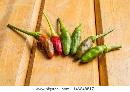 closeup hot chilli Organic on wooden background