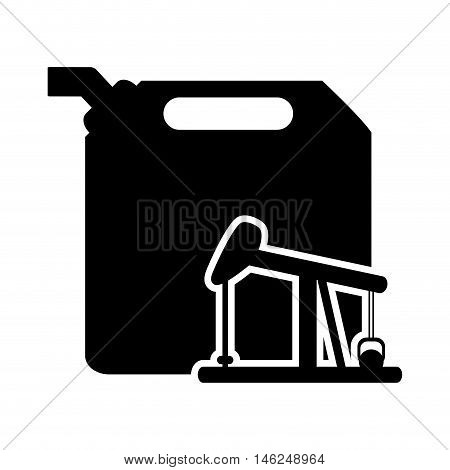 flat design fuel canister and oil rig icon vector illustration