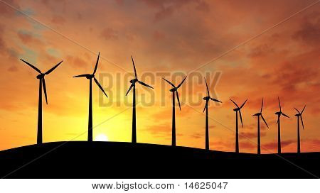 Wind farm at sunset.