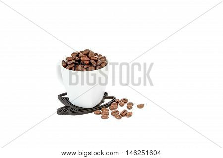 coffee bean in cup and coffee beans on white background