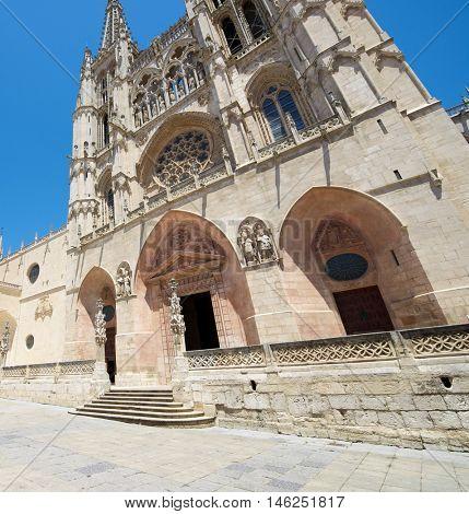 Exterior View of Burgos Cathedral, Burgos, Castilla Leon, Spain.
