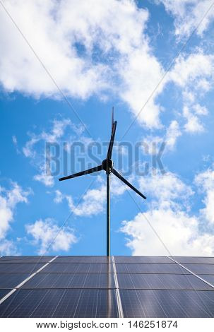 Solar Panels And Wind Turbine For Electric Power Production. Outdoor.