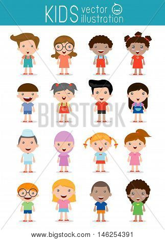 Set of diverse kids isolated on white background. Different nationalities and dress styles. European children, America's Children, Asian children,African children, happy children,Vector Illustration