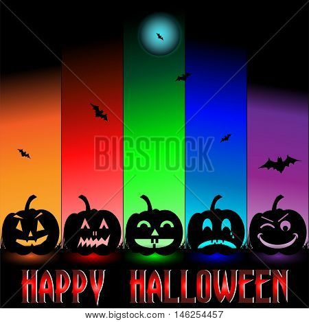 Halloween background with scary happy funny pumpkins with an orange red, green, blue and purple gradient background. Happy halloween letters on the base accented with bats and moon. Lighted pumpkins. Gradient columns placed on black background.