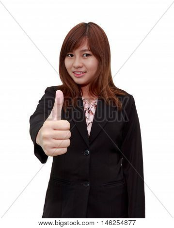 Smiling businesswoman holding thumps up isolated on white background - feel good business concept.