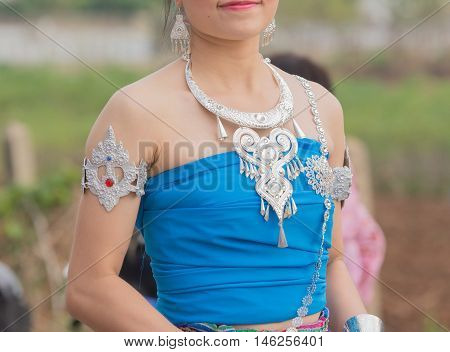 girl in Thai local dress in wax festival.
