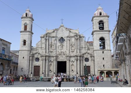 Havana Cuba - December 30 2015: Cathedral of the Virgin Mary of the Immaculate Conception (1748-1777) and Plaza de la Catedral