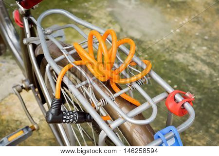 Orange number Lock on a Bike/ Bicycle Chain Lock