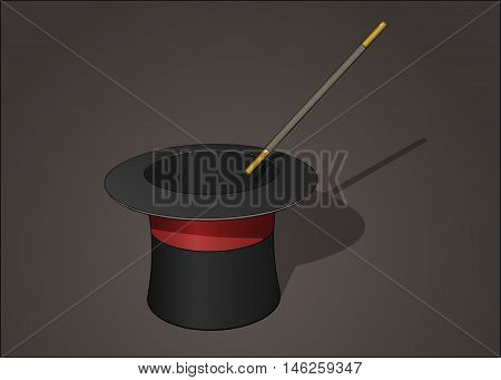 Black magic hat with red stripe and brown magic wand