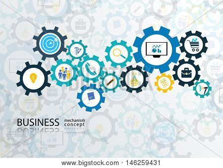 Business mechanism concept. Abstract background with connected gears and icons for strategy digital marketing Vector infographic illustration