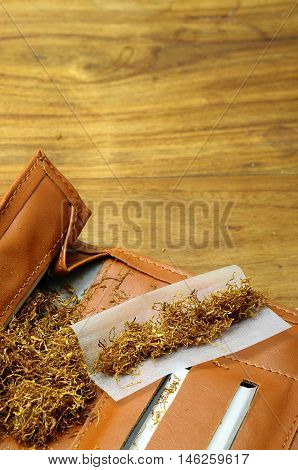 Close up of tobacco and rolling tobacco pouch